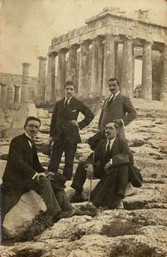 a group of men posing in front of the Acropolis of Athens Greece Pictures, Old Pictures, Old Photos, Old Greek, Greek Art, Athens Acropolis, Athens Greece, Vintage Photographs, Vintage Photos