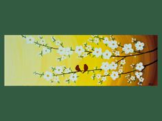 Love birds and flowering trees