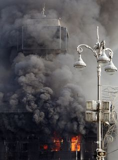 The Trade Unions House in Kyiv, Ukraine burns in the early morning of 19th Feb. 2014.