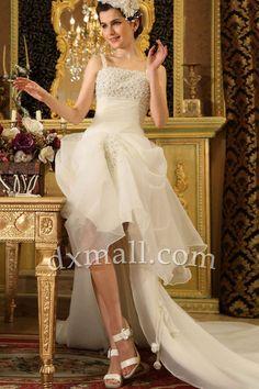A-line Wedding Dresses Spaghetti Straps Cathedral Train Organza Satin Champagne W1001010581