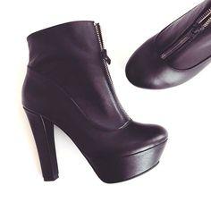 Botine din piele, botine cu toc, pantofica.ro