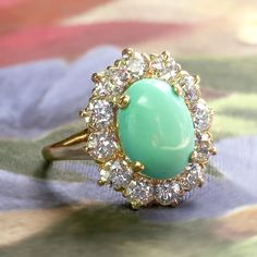 Vintage Art Deco 1930's 4.89ct t.w. Turquoise & Old European Cut Diamond Cocktail Ring 14k | Antique & Estate Jewelry | Jewelry Finds
