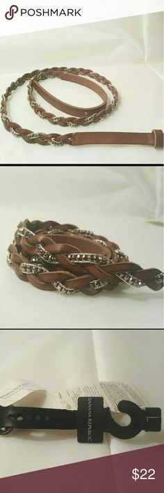 Banana Republic Brown Leather belt Brown sequence thin belt  Size: Large  NEVER BEEN WORN , TAGS ARE STILL ON  Regular Price :$40 Banana Republic Accessories Belts