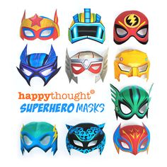 Easy to make printable superhero masks: Download template and instructions!