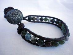 Mens agate Bead Single Leather Wrap Bracelet by mitallerdenubes, €17.00
