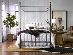 Iron canopy bed with choice of finishes, finials, and footboards! Bed Frame Design, Bed Design, Bedroom Sets, Bedroom Decor, Master Bedroom, Bedrooms, Girls Bedroom, Metal Canopy Bed, Canopy Beds