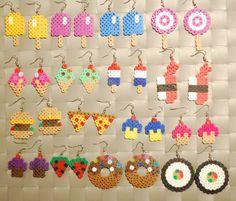 Billedresultat for perler beads pattern popsicle Perler Earrings, Diy Perler Beads, Perler Bead Art, Bead Earrings, Hama Beads Jewelry, Fuse Beads, Pearler Bead Patterns, Perler Patterns, Hama Beads Design