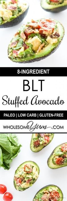 BLT Stuffed Avocado (Paleo, Low Carb) - These stuffed avocados are packed with BLT toppings. Perfect for lunch or a snack that's low carb, paleo, and gluten-free. paleo dinner for 2 Good Keto Snacks, Diet Snacks, Healthy Snacks, Healthy Eating, Clean Eating, Healthy Brunch, Lunch Snacks, Eating Raw, Diet Foods