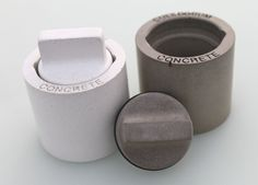 "Culinarium: NEX GEN Salt and Pepper Shaker Set      Measuring approximately 2"" in diameter x 2.5"" tall, this is the next generation of our recycled concrete shaker set. I built upon the concept of our original shaker set, but I made a few improvements with this design."