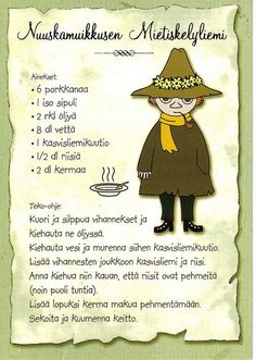 My Favorite Postcards: Recipes - Moomin's Snufkin Soup Old People Love, Tove Jansson, Finnish Recipes, Baking With Kids, Old Recipes, Recipe Cards, Food Photo, Pop Tarts, Love Food