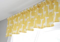 This cute little valence is quick and easy for a nursery! Cheap Room Decor, Cheap Rooms, Diy Room Decor, Cheap Window Treatments, Window Coverings, Valance Patterns, Baby Girl Room Decor, Baby Room, Mellow Yellow