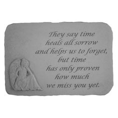 They Say Time Heals Memorial Stone - Angel Design - 22420