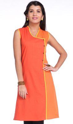Dark Orange Cotton Dobby Sleeveless Kurti (with attachable sleeves)