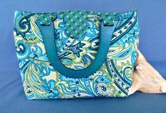 RESERVED for CONNIE Aqua Paisley Placemat Purse Handbag OOAK