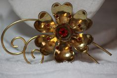 Jewelry Vintage Large Floral Pin Rhinestones. Starting at $10 on Tophatter.com!10pm est LIVE AUCTION, link:http://tophatter.com/auctions/18739