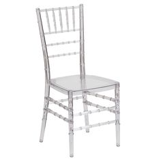 Use this simple but decorative chair to enhance your seating area. This Chiavari chair is stackable and durable, making it an easy choice when it comes to seating.