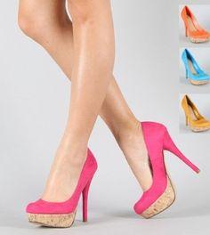 Red Faux Suede Platform heels Pumps Jones