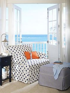 love the dots and stripes together with pop of orange