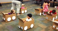 """[How cute is this?!] Toddler's """"Drive-in"""" Movie! at Vernon Area Library -- kids decorated their very own car(dboard box) and then watched """"Don't Let The Pigeon Drive The Bus!"""" by Mo Willems."""