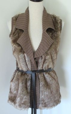 Beth & Madison Brown Faux Fur Front Tie Waist Sweater Vest Sz M Womens Metallic  #BethMadison
