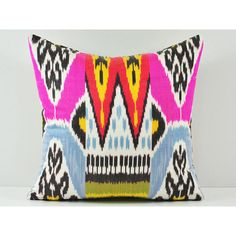 15x15 pink Ikat pillow- decorative pillow covers - throw pillows -... (£14) ❤ liked on Polyvore featuring home, home decor, throw pillows, pink home decor, pink toss pillows, patterned throw pillows, pink accent pillows and ikat throw pillows