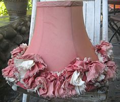 Vintage lampshade, pink with tons of ruffles, shabby perfection