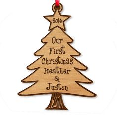 Our First Christmas Ornament Laser Wood Engraved Tree Ornament Persona