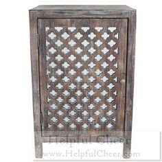 Distressed Grey Quatrefoil End Table with Mirror Accent - at - 0153 - Your On
