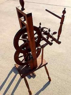 Antique-Accelerator-Spinning-Wheel-Rare-Type-M-J-Y-No-407-Orig-Finish