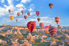 Discover the magical beauties of Cappadocia from the air on this early morning hot air balloon tour. Watch the beautiful sunrise while climbing 3000 feet above the ground. Air Balloon Rides, Hot Air Balloon, Puzzles, Balloon Flights, Puzzle Of The Day, Cappadocia Turkey, Underground Cities, Air Tickets, Pamukkale