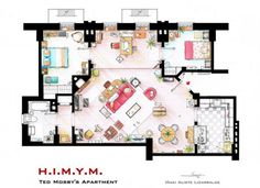 Ted Mosby's apartament floor plan. How I met your mother