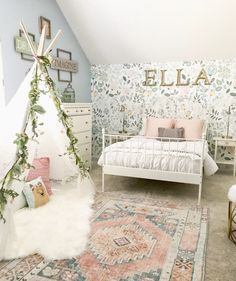 Little Girl Decor and Bedroom Reveal & Bless This Nest Big girl bedroom ideas. Wallpaper in girl& room The post Little Girl Decor and Bedroom Reveal appeared first on Trendy. Big Girl Bedrooms, Little Girl Rooms, Girls Bedroom Blue, Little Girls Room Decorating Ideas Toddler, Girls Flower Bedroom, Cute Rooms For Girls, Toddler Bedroom Ideas, Bedroom For Girls Kids, Toddler Room Decor