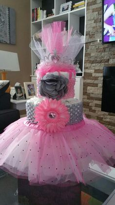 Pink and gray tutu and head band diaper cake for a little princess.