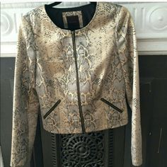 The Limited jacket Great for New years eve!!  Metallic gold, snake print. Fabulous jacket brand new without tags.   A little snug for me.   Reasonable Offers welcome. The Limited Jackets & Coats Blazers
