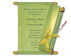Budget Scroll Invites with Light Green base. Scroll Wedding Invitations, Scroll Invitation, Invites, Menu Cards, Table Cards, Money Envelopes, Sweet Box, Golden Color, Thank You Cards