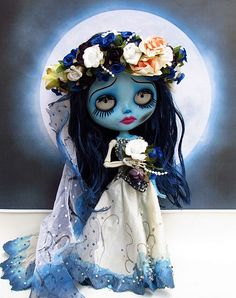 Blythe as the Corpse Bride. Tim Burton. Check out my AFFORDABLE doll store: http://astore.amazon.com/bandwapopulcultu. Curated by NYC Metro Fandom. NYC Tri-State Fan Events: http://yonkersfun.com/category/fandom/