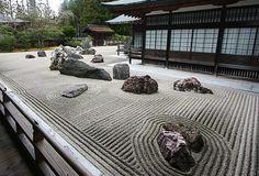 Japanese Gardens: Garden Elements Japan's largest rock garden at Kongobuji Temple on Koyasan