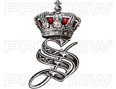 Royal Initials custom tattoo lettering design  ▒Tattoo Lettering Design▒ Professional Custom Tattoo Lettering Service | Initial Royal Crown Tattoo Design