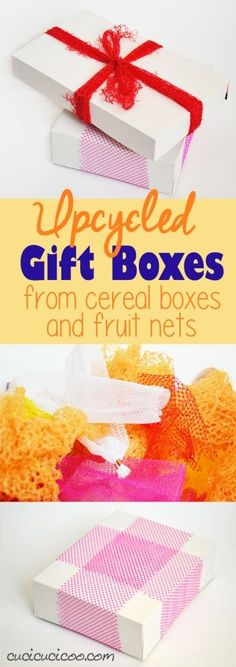 Don't use wasteful wrapping paper this year! These cereal box gift boxes are easy to make and are unique with produce net ties and bows! Cheap and ecofriendly! www.cucicucicoo.com Homemade Gifts, Diy Gifts, Gift Card Presentation, Fun Crafts, Crafts For Kids, Fruit Box, Upcycled Crafts, As You Like, Craft Projects