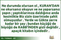 #ALLAH #KURAN #YUNUS  10 / YUNUS - 61