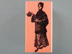 Asian Female Serving Tea GUMBO GRAPHICS Rubber Stamp  | eBay