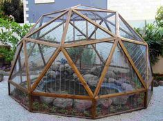 Geodesic dome - Planning on building your own? See how I built this unique garden aviary and pond enclosure with embedded videos made during construction