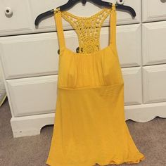 yellow embroidered  tank  15% off a bundle of 2 or more  Summer tank with crotchet back and tie in back also A Byer Tops Tank Tops