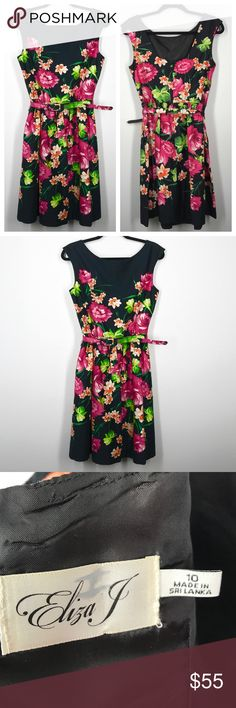 Eliza J floral fit and flare dress size 10 This Eliza J dresses like new. It has a vibrant pink and green floral print on a black background. It comes with a cute matching belt. It's a size 10 and it's true to size. It's a fit and flair style Eliza J Dresses
