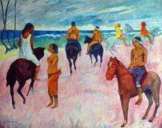 Paul Gauguin - Post Impressionism - Tahiti - Cavaliers sur la plage 2 - 1902