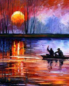 "Fishing On The Lake by Leonid Afremov ( Detail )~ Palette Knife Oil Painting On Canvas~ http://afremov.com/-Size: 36""x 24"" html?Leonid Afremov"