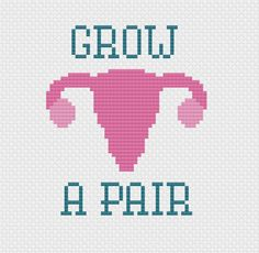 Instant Download PDF for Cross Stitch Pattern -- Grow A Pair -- Uterus