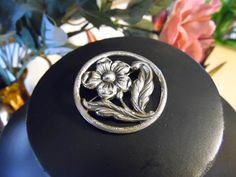 Vintage Signed Sterling Flower Brooch Pin Round Flower Pin