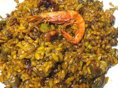 arròs melós de gambes/arroz meloso de gambas y habas Spanish Kitchen, Batch Cooking, Le Chef, Empanadas, Healthy Smoothies, Fried Rice, Tapas, Veggies, Food And Drink