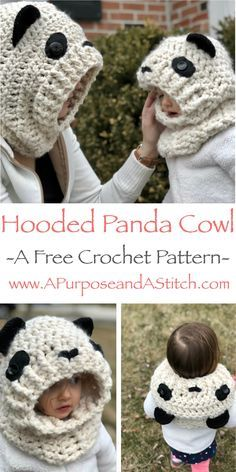 Hooded Panda Cowl- Free crochet pattern in adult, child and toddler sizes